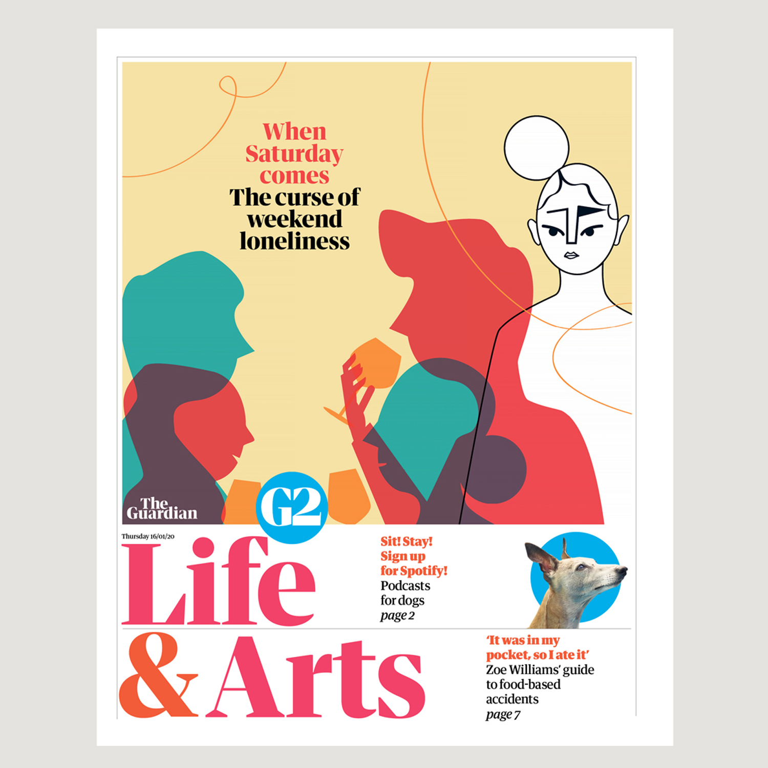 Cover, editorial illustraton for The Guardian UK about weekend loneliness illustrated by Monsie Monika Jurczyk
