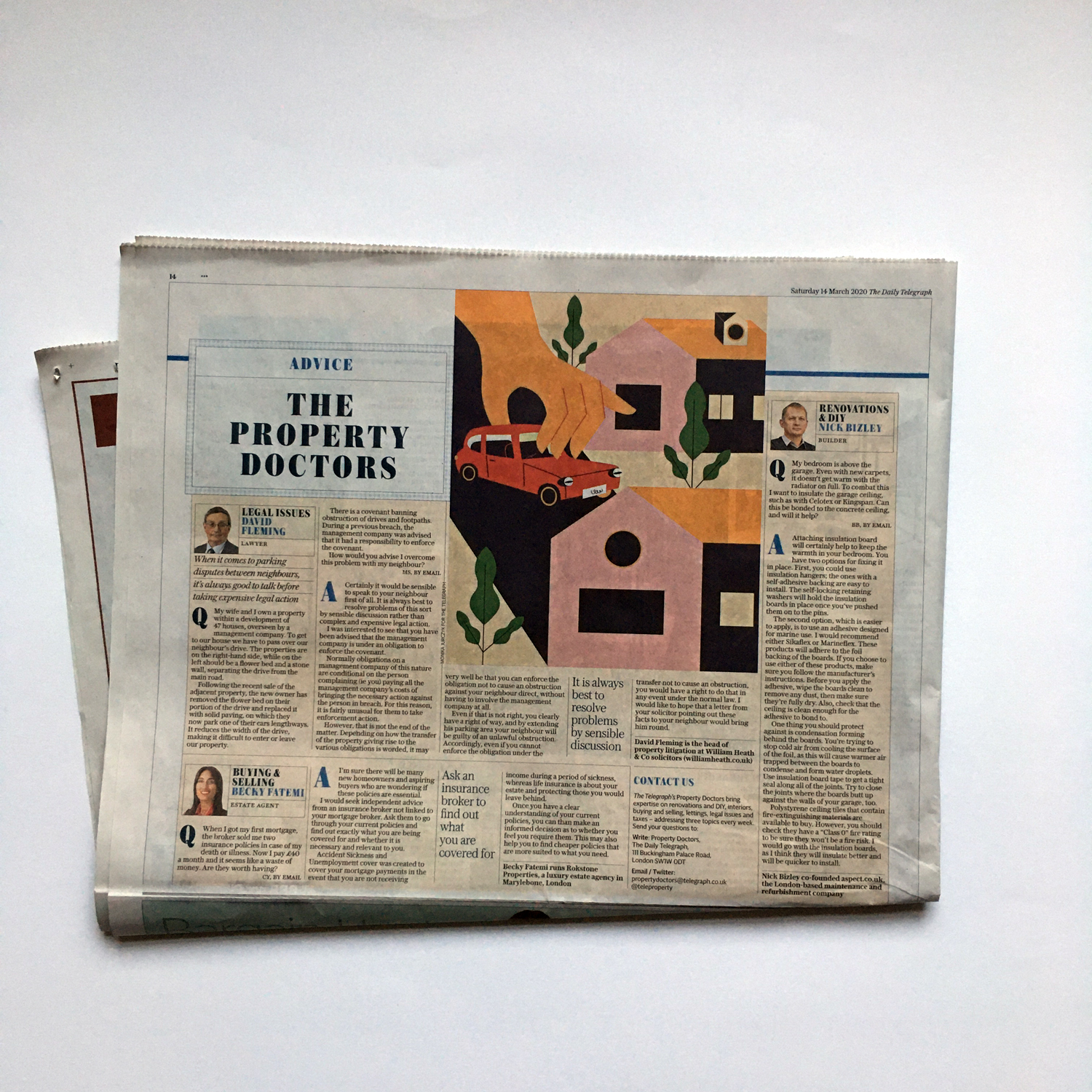 Photograph on The Telegraph newspaper with an editorial illustration by Monsie Monika Jurczyk