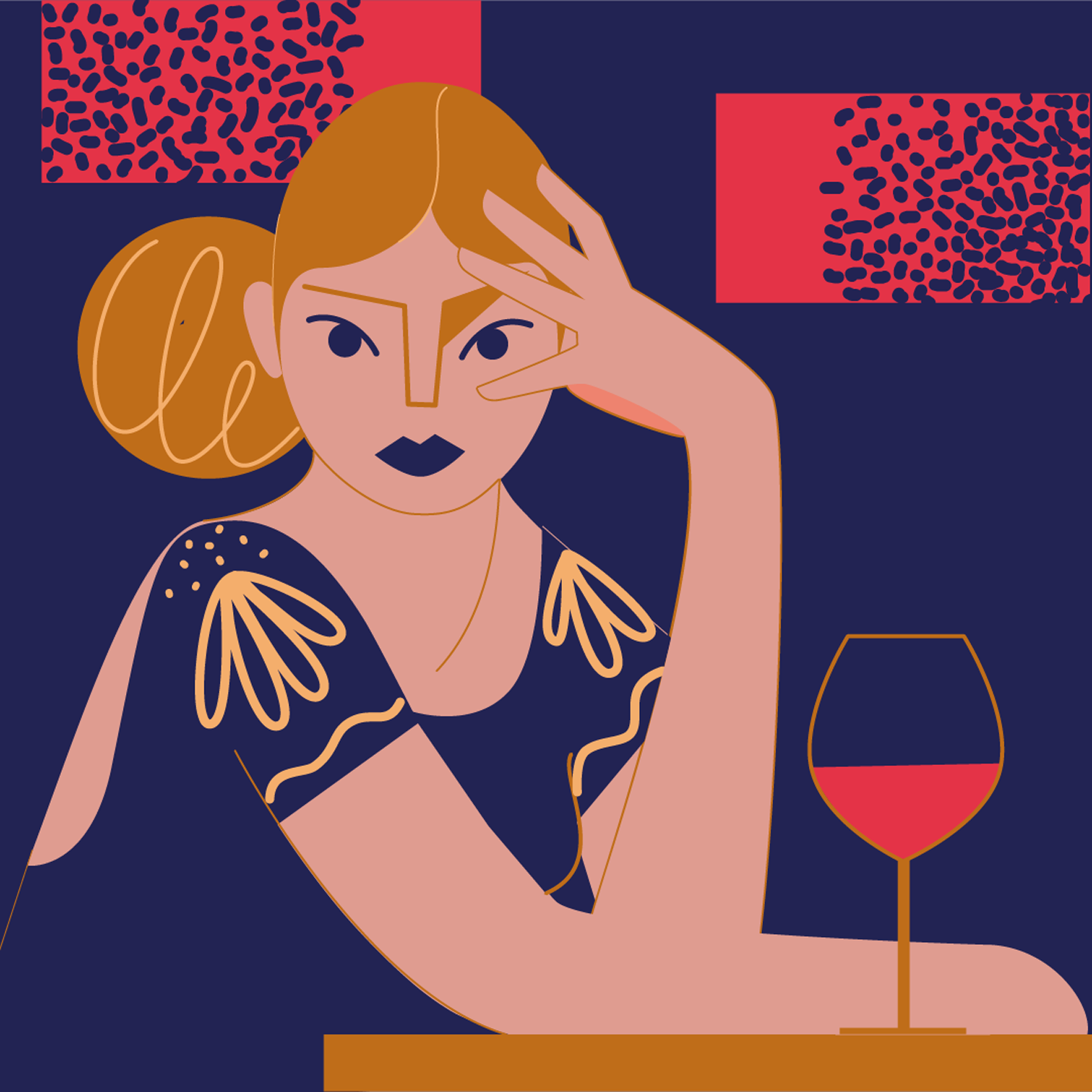 Illustration of a woman sitting in a bar with a glass of wine