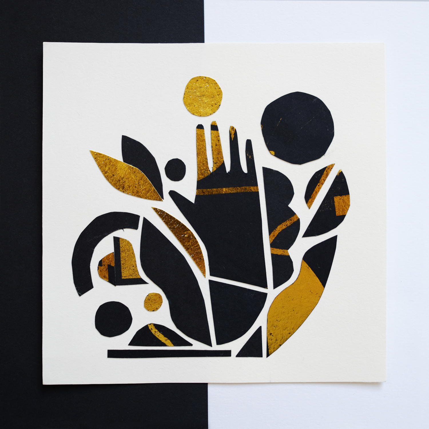 Gold and black paper collage created by Monsie Monika Jurczyk illustration