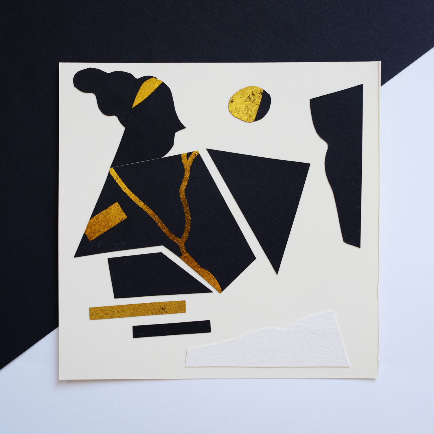 Paper collage depicting a woman in pieces