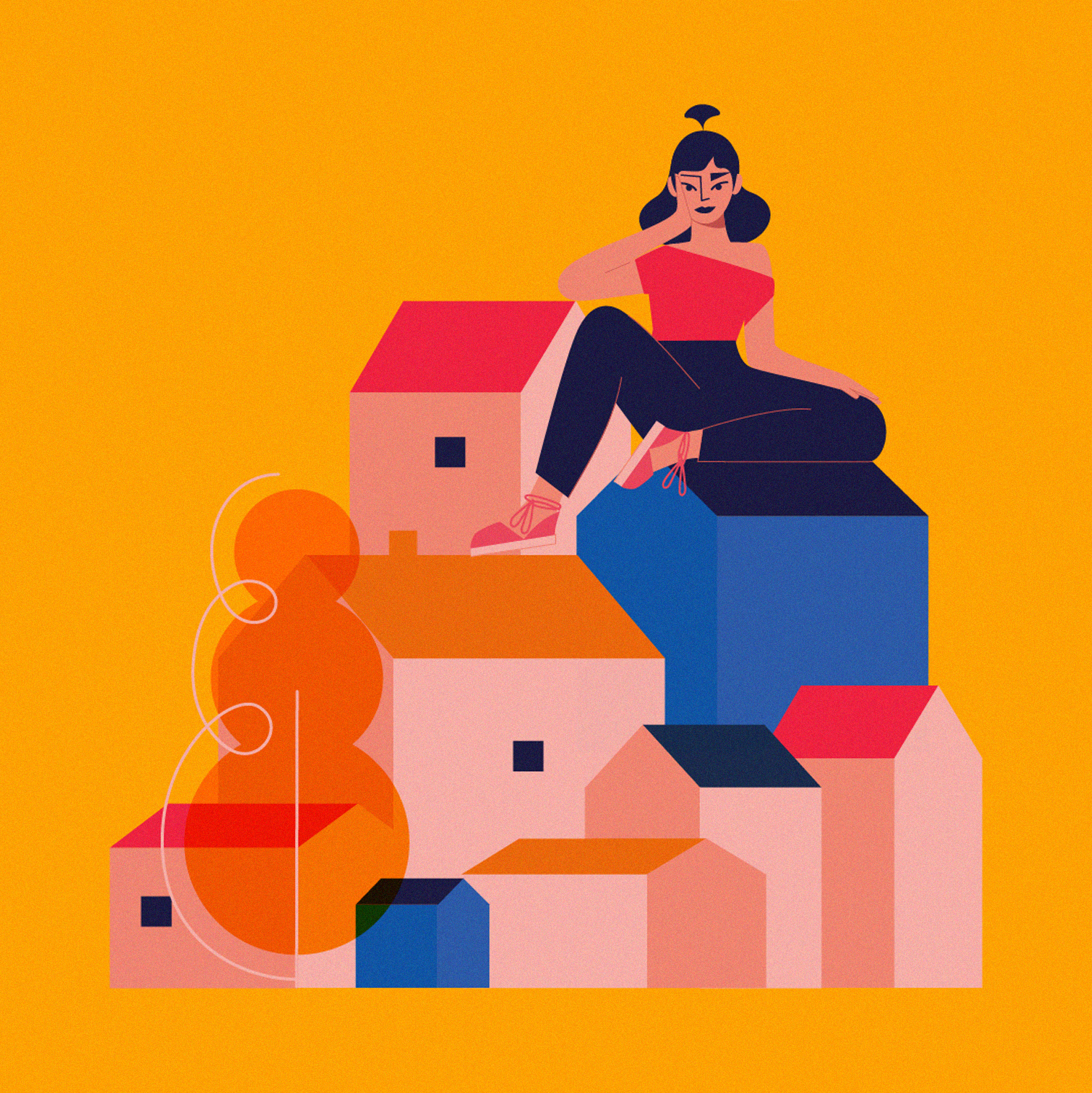 Editorial illustration depicting woman sitting on top of a house during covid lockdown_Covid-19 artwork