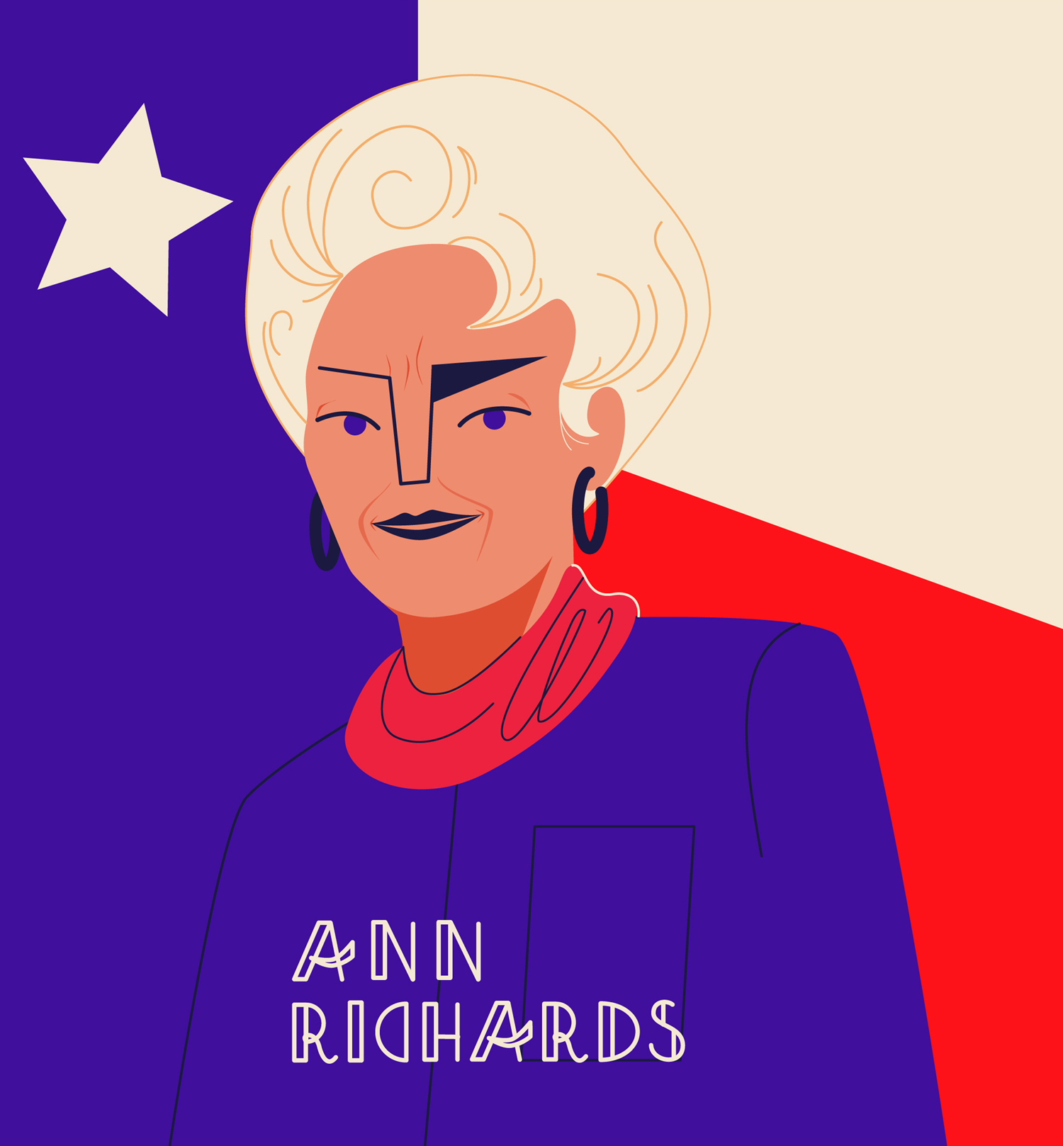 Portrait of Ann Richards the 45th Governor of Texas, illustration for PBS, women who changed America