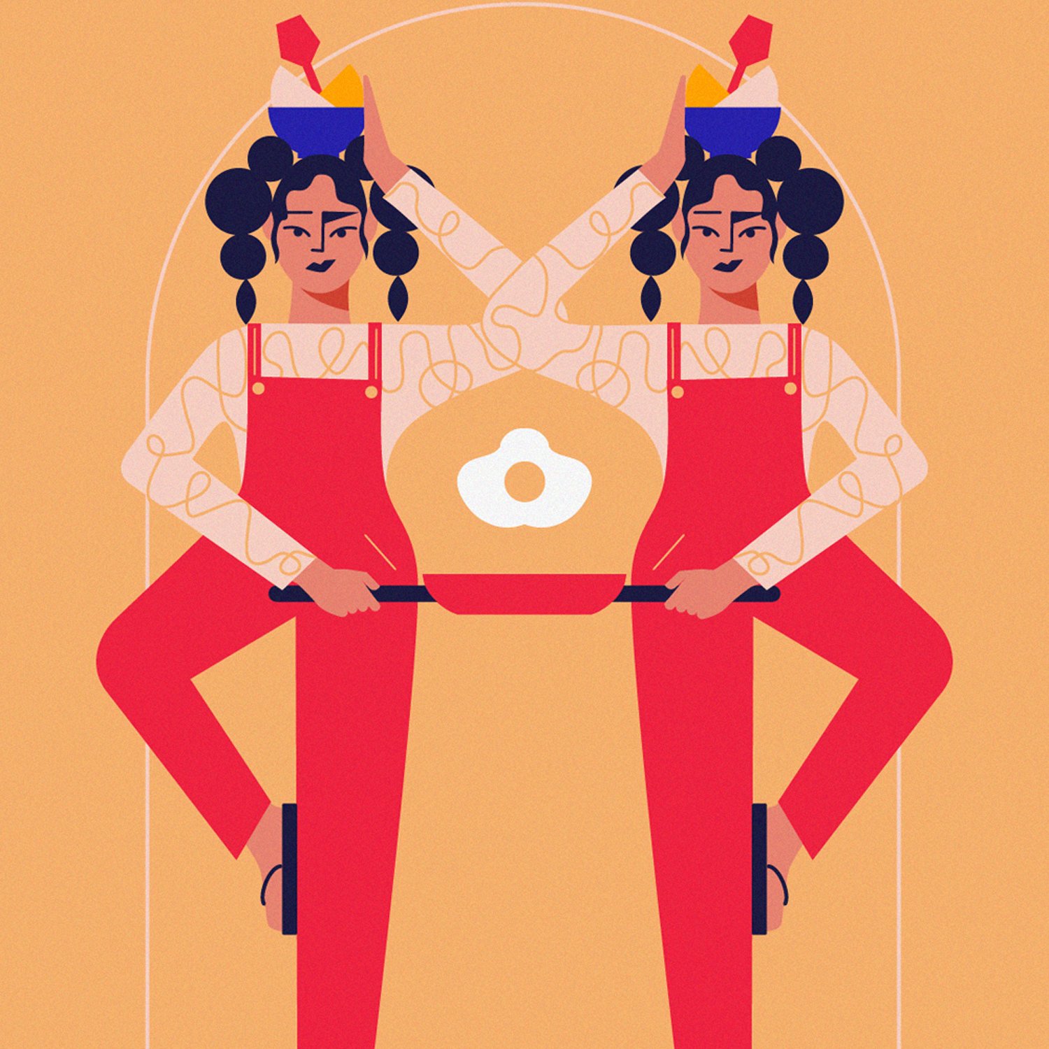 Editorial illustration of two girls women making fried egg and deing rhe dishes - everyday struggle