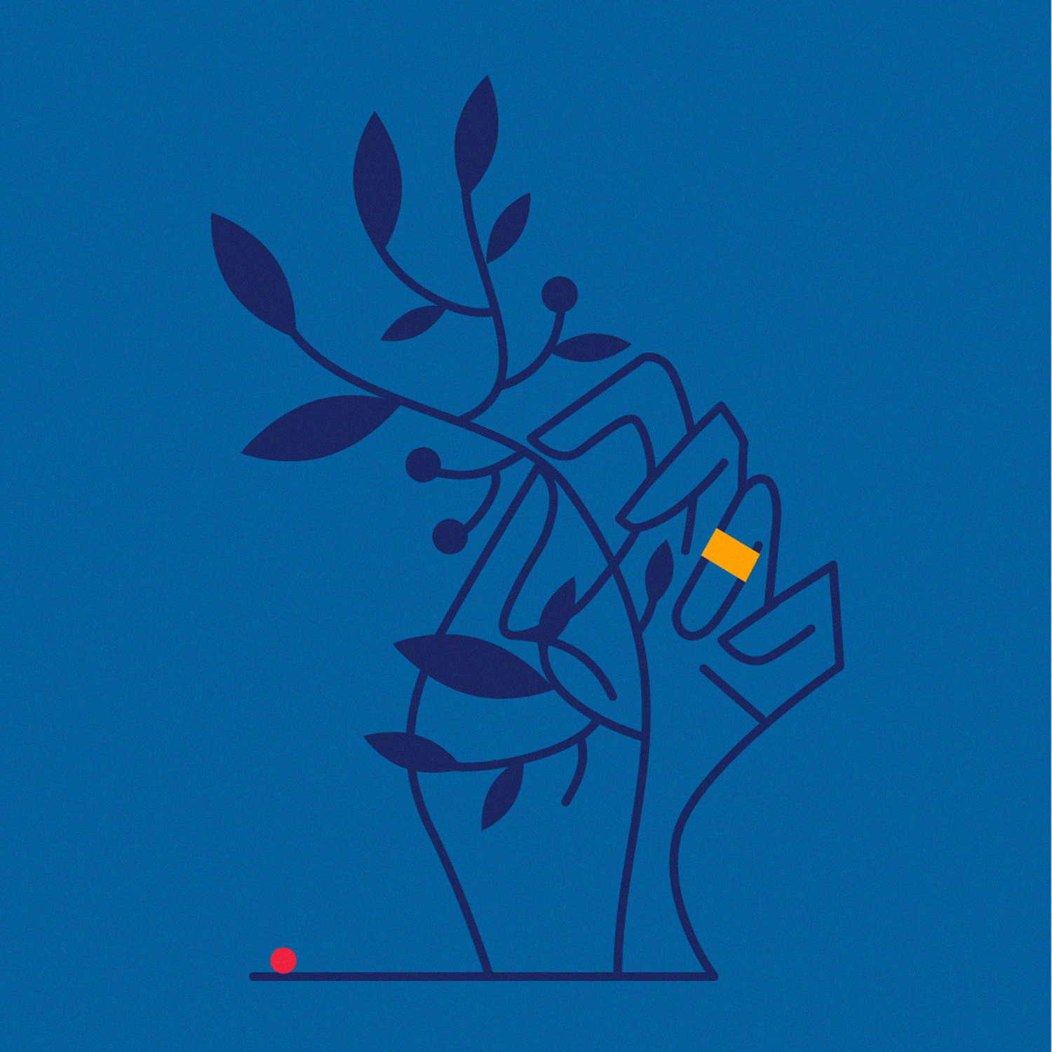 A hand holding a plant, minimal art, artwork in 3 colors
