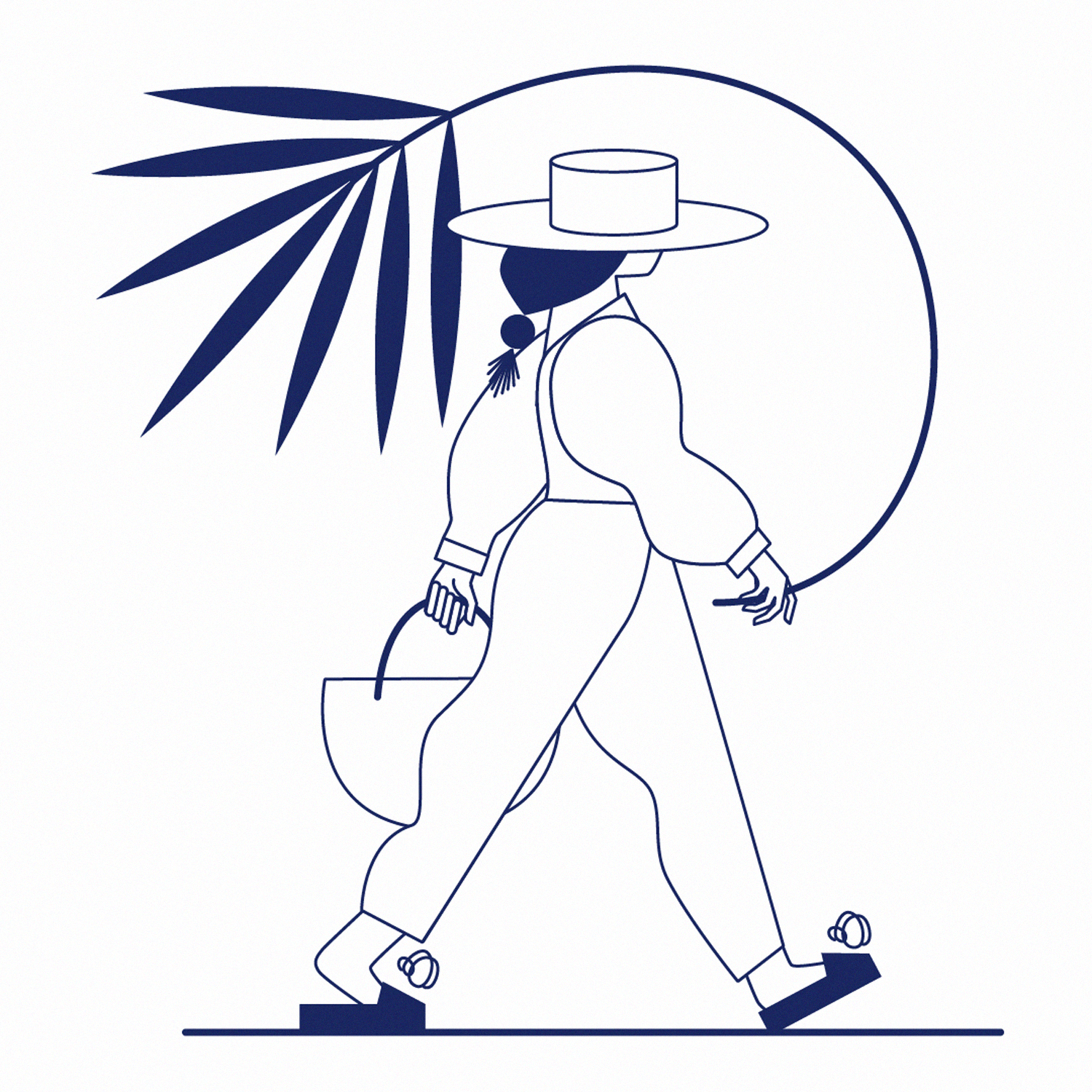 Lineart, line work, image depicting a woman wearing a panama hat and holding a palm tree leaf