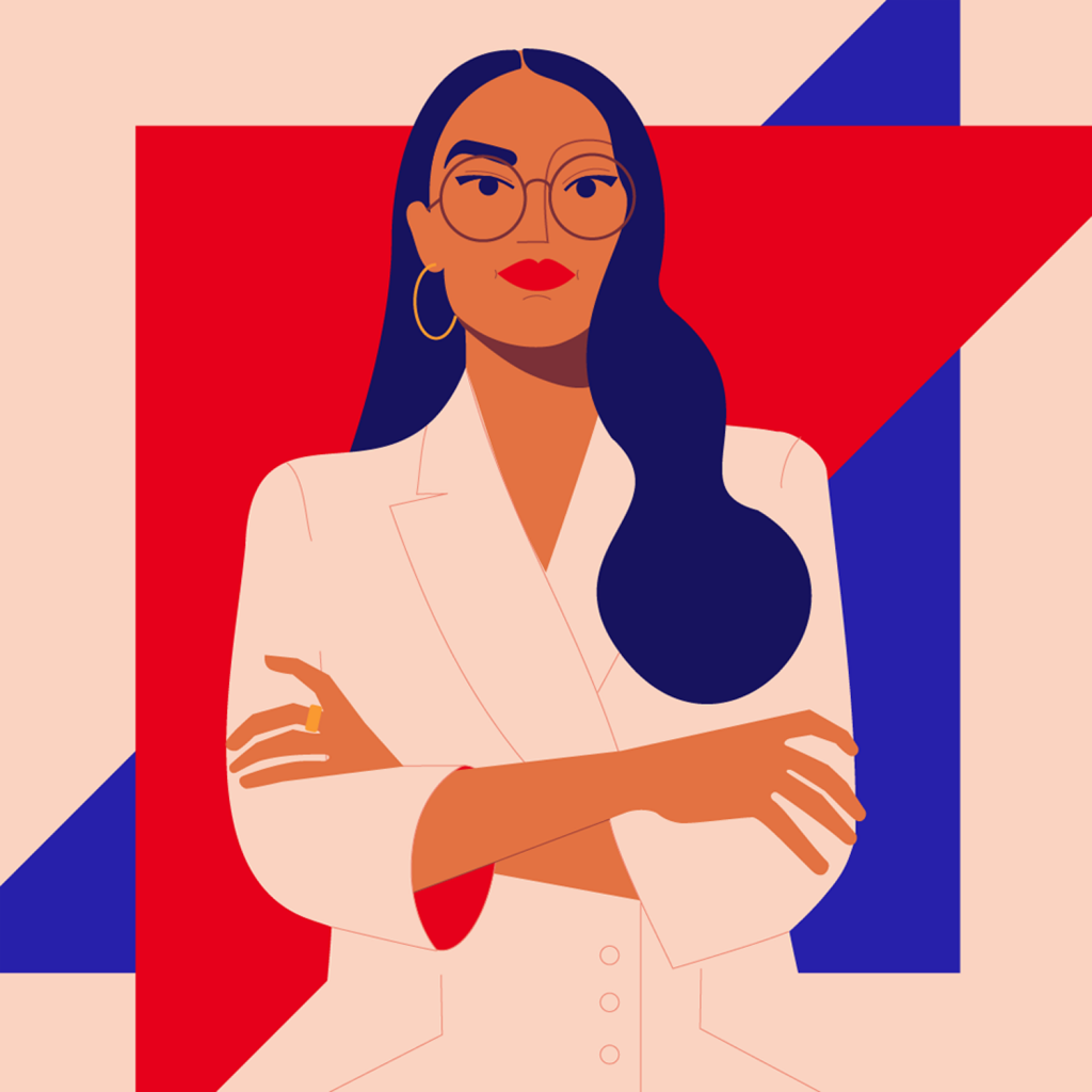 A portrait inspired by Alexandria Ocasio-Cortez depicting a strong woman with vision by Monsie