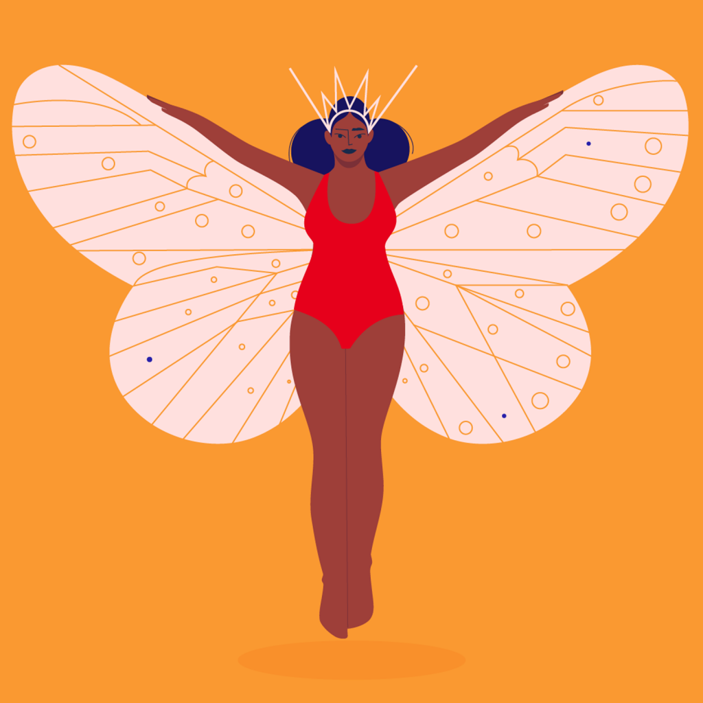 Image of a dark skinned woman with wings of a butterfly spread boldly by Monsie