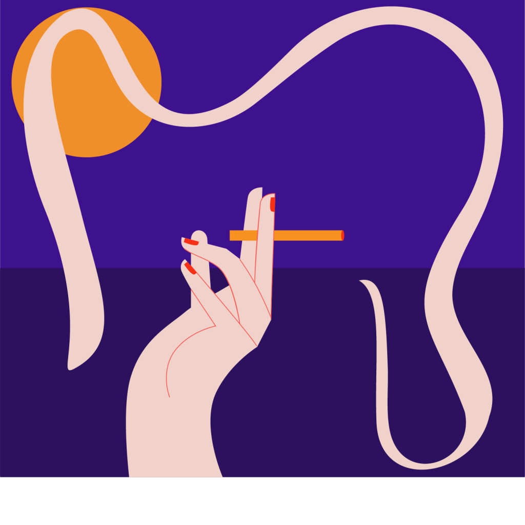 Concept ilustraton of a hand, cigarette smoke and full moon