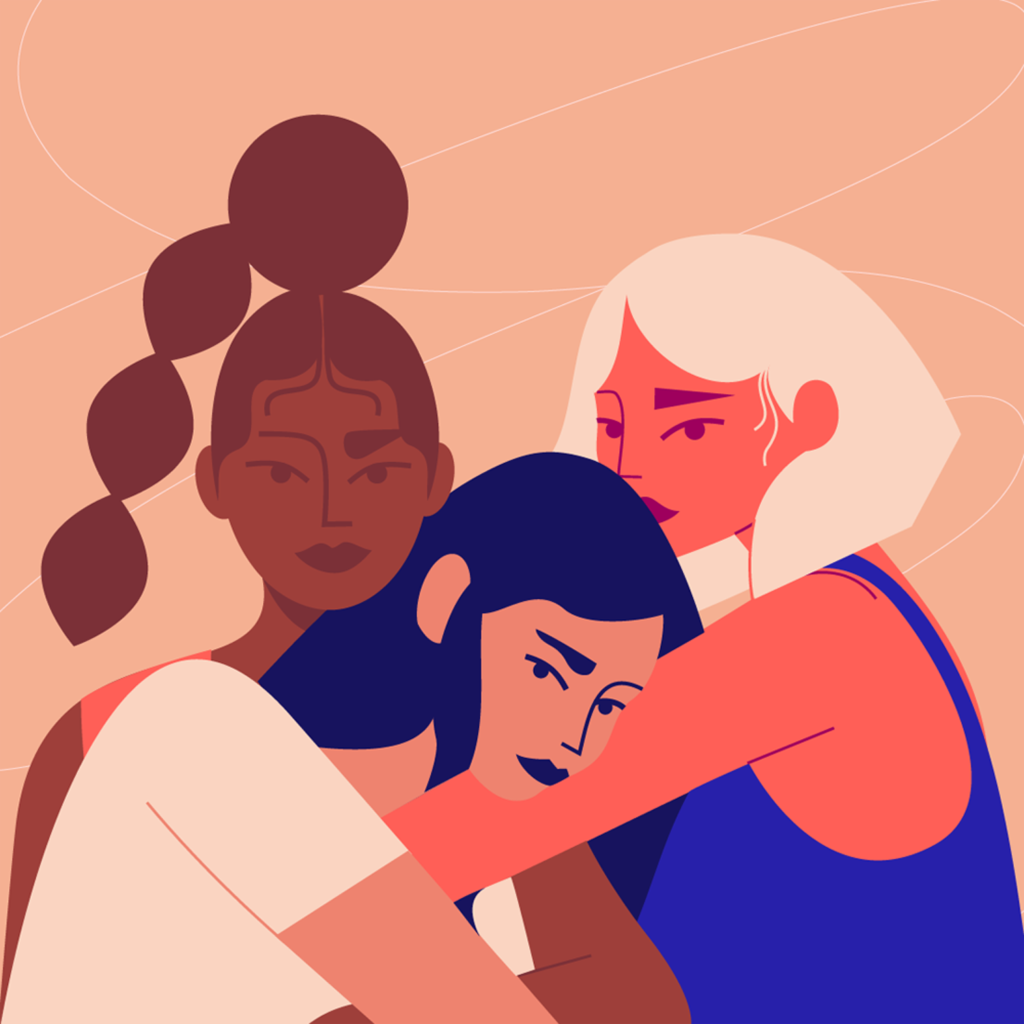 A portrait of three women with different skin colors. The representation and sisterhood that is a part of female life experience
