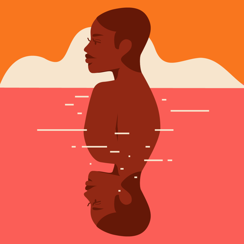 Reflection black woman swimming in the sea of memories