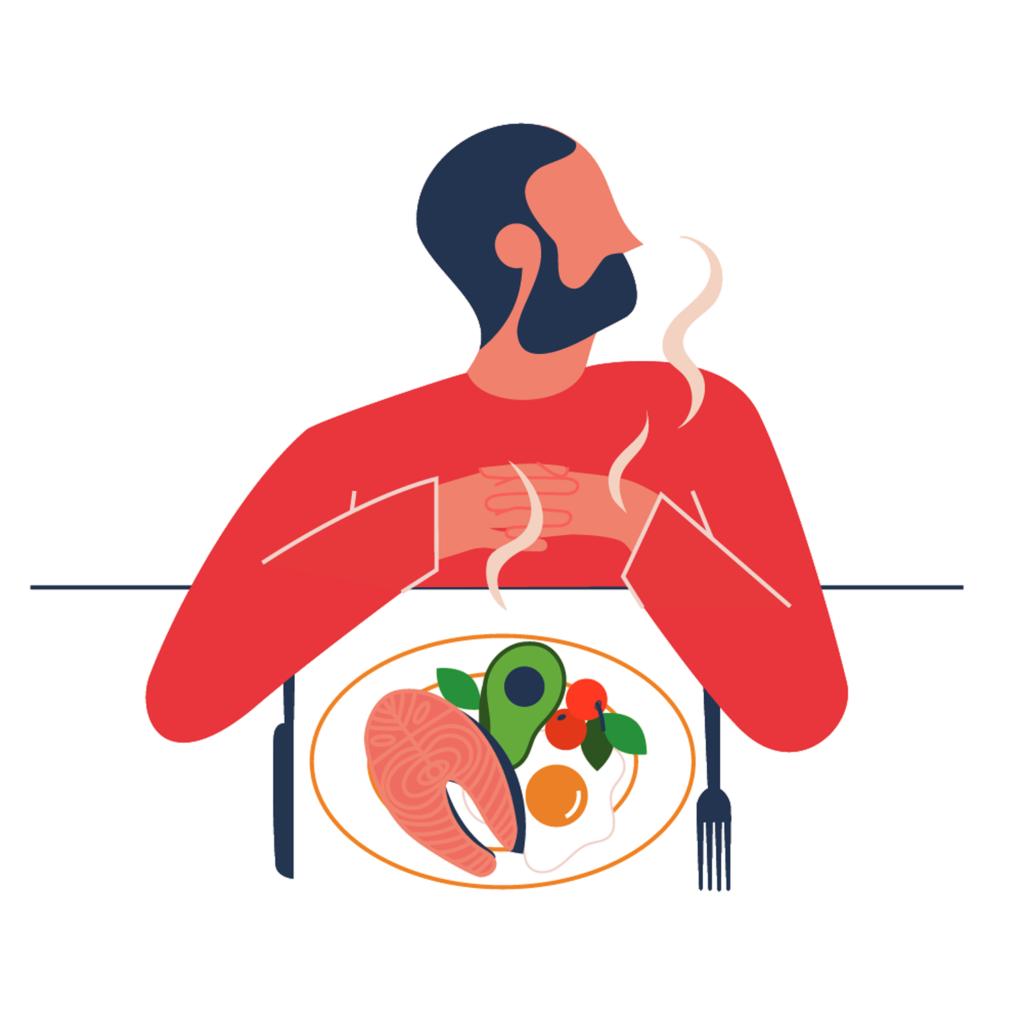 Food illustration for Nob Hill Gazette on paleo diet