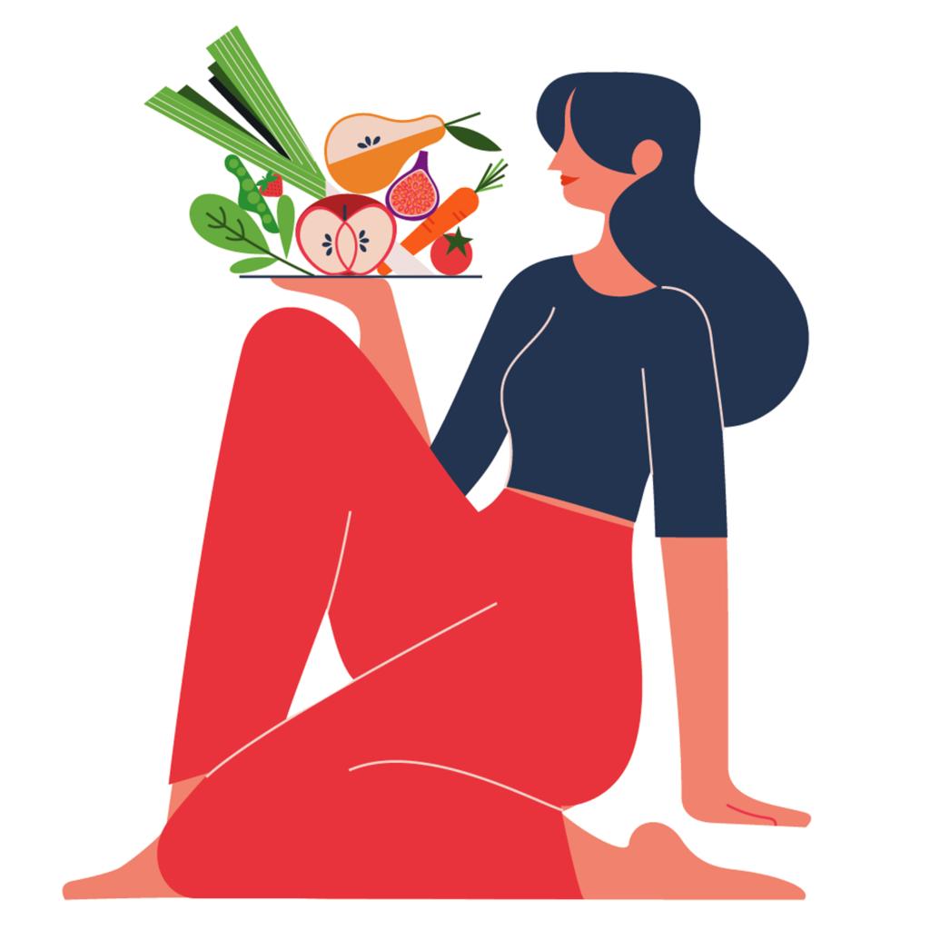 Food illustration for Nob Hill Gazette on vegetarian vegan diet