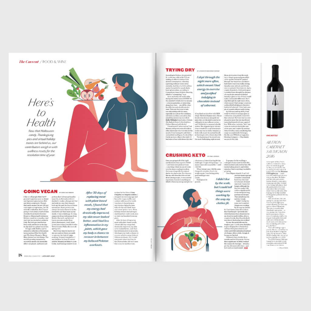 Nob Hill Gazette spread food spot illustration_Monsie_Monika Jurczyk
