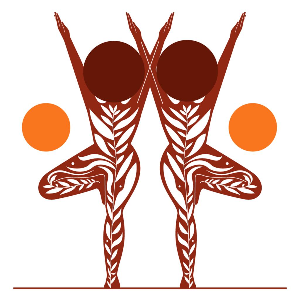Tree pose yoga two black women symmetry