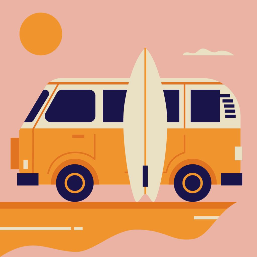 Volkswagen camper van surfboard holidays