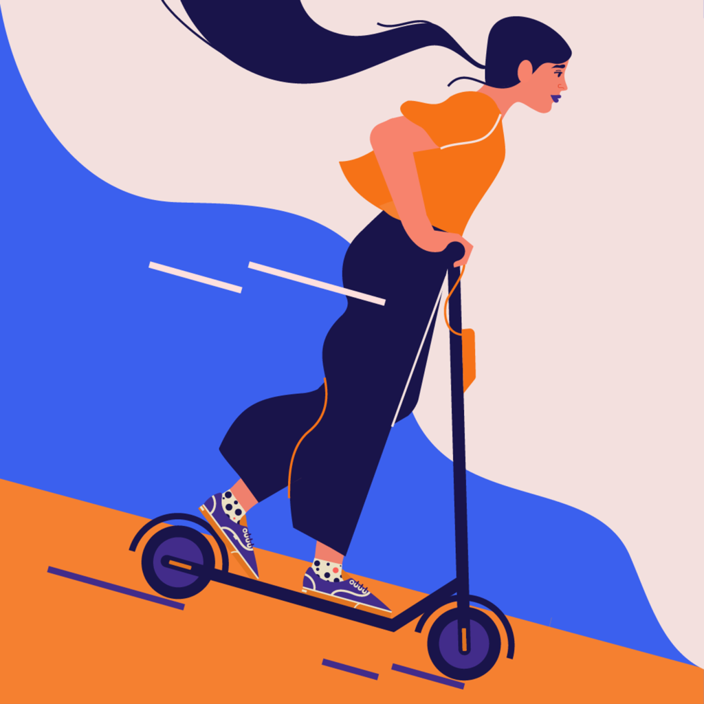 A girl on a electric scooter, moving fast