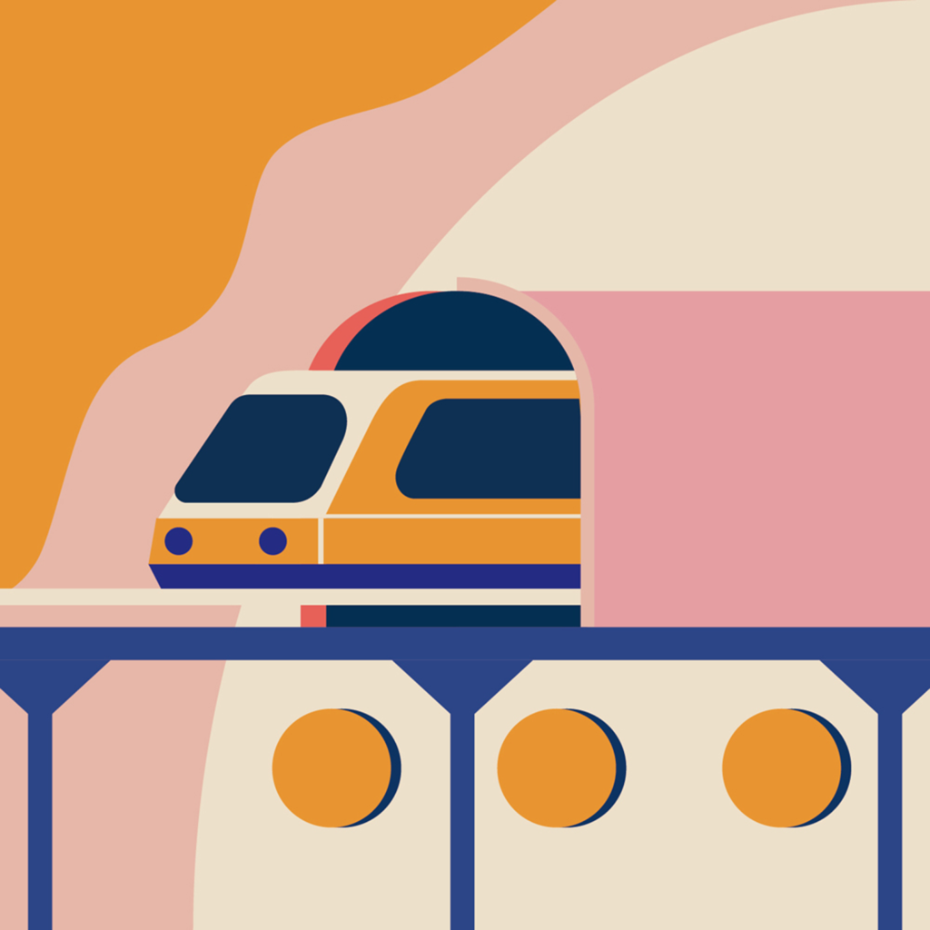 Train, tube, color