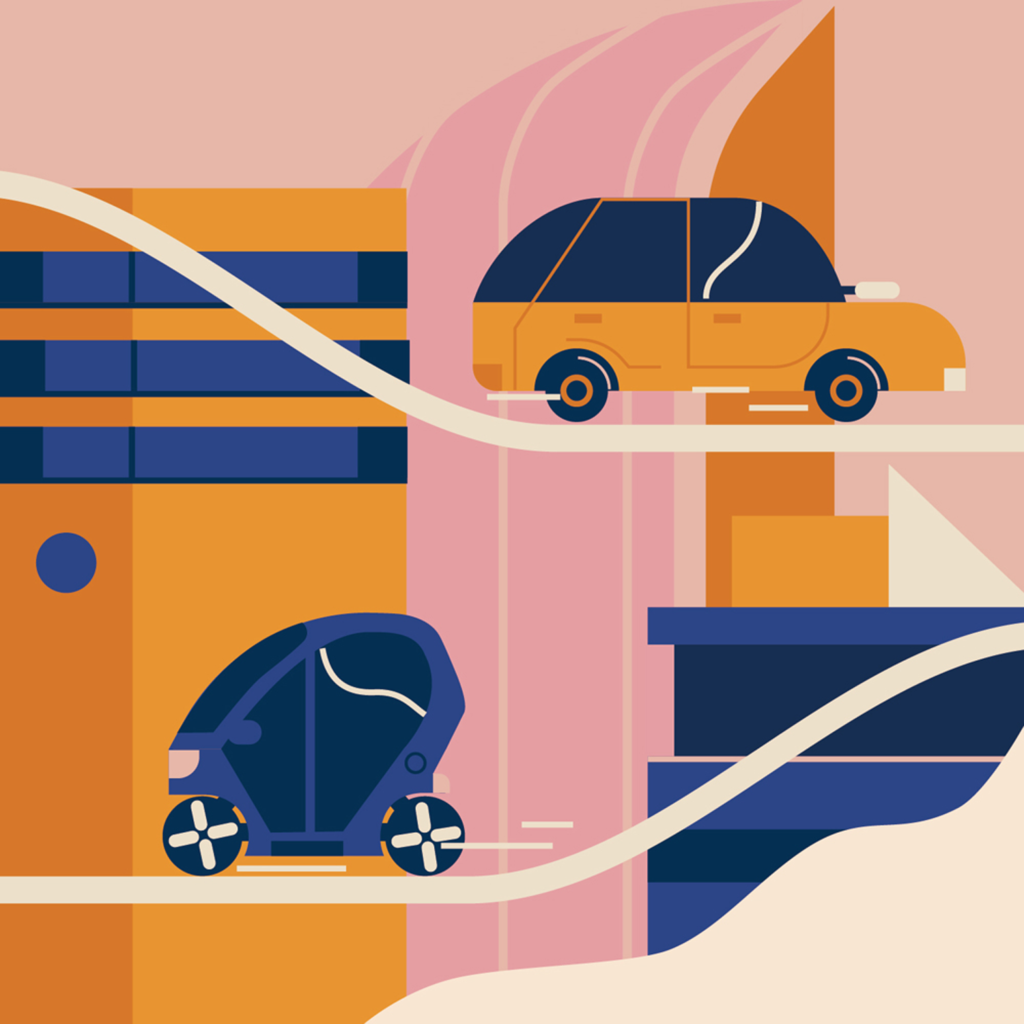 Cars of the future in the colorful city