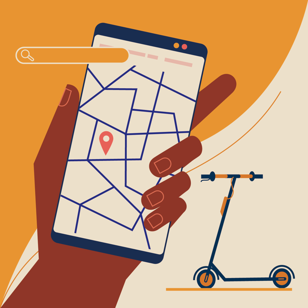 Tracking app, electric scooter, searching for the closest e-scooter rental