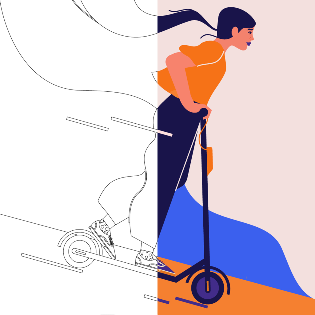 A girl on an electric scooter